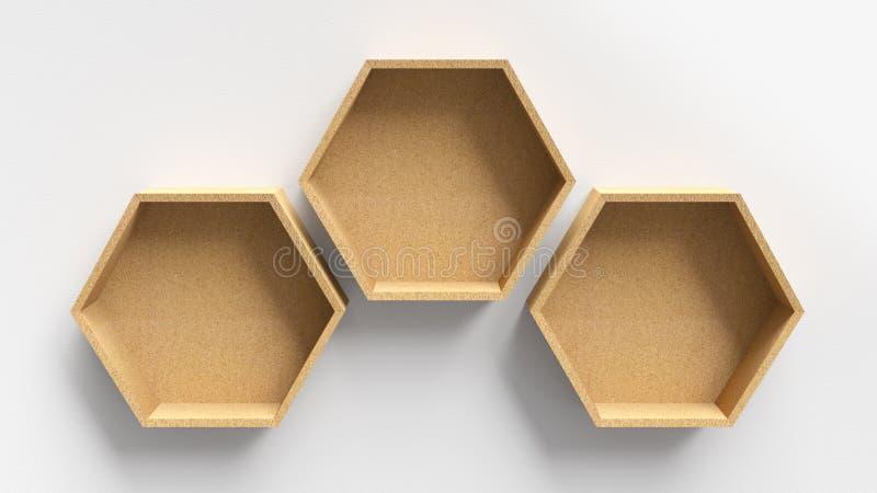 Trähyllor för tomma sexhörningar arkivfoton