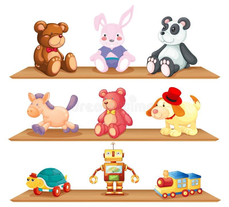 Trähyllor med olika leksaker stock illustrationer
