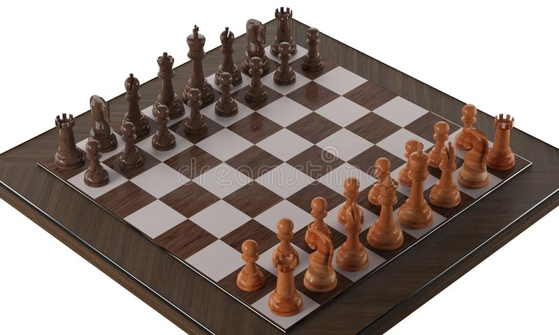 Träillustration för schack 3d royaltyfria bilder
