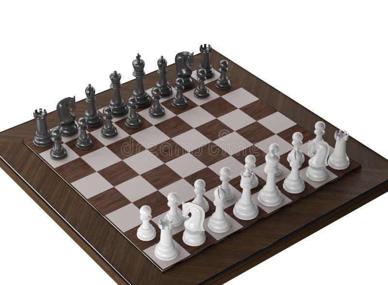 Träillustration för schack 3d royaltyfri bild