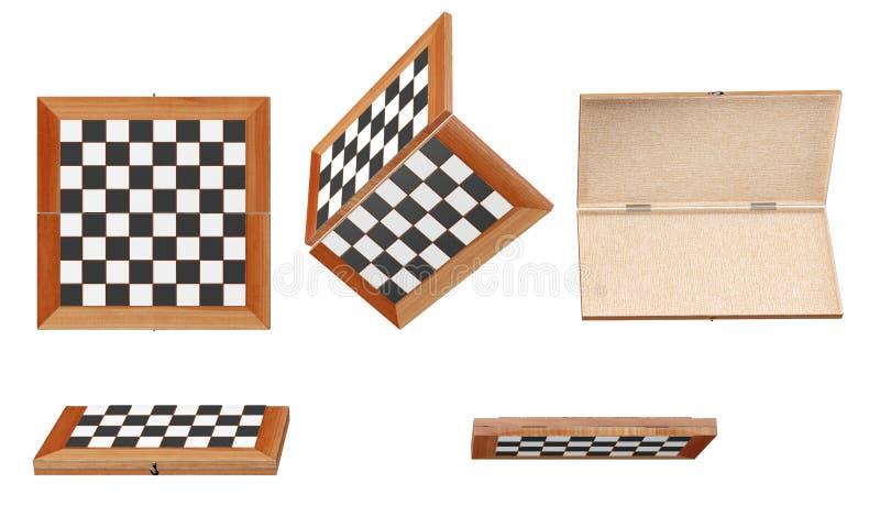 Träillustration för schackbräde 3d royaltyfria foton