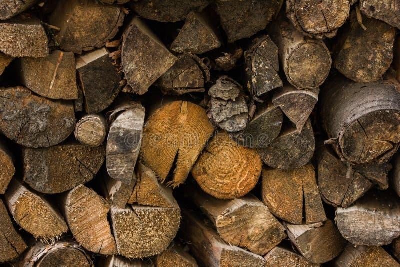 Träjournaler, strålar, vedträ, ram mycket trä Träjournalträbakgrund bränsle Plockningvedträ för vintern Loggin arkivbilder