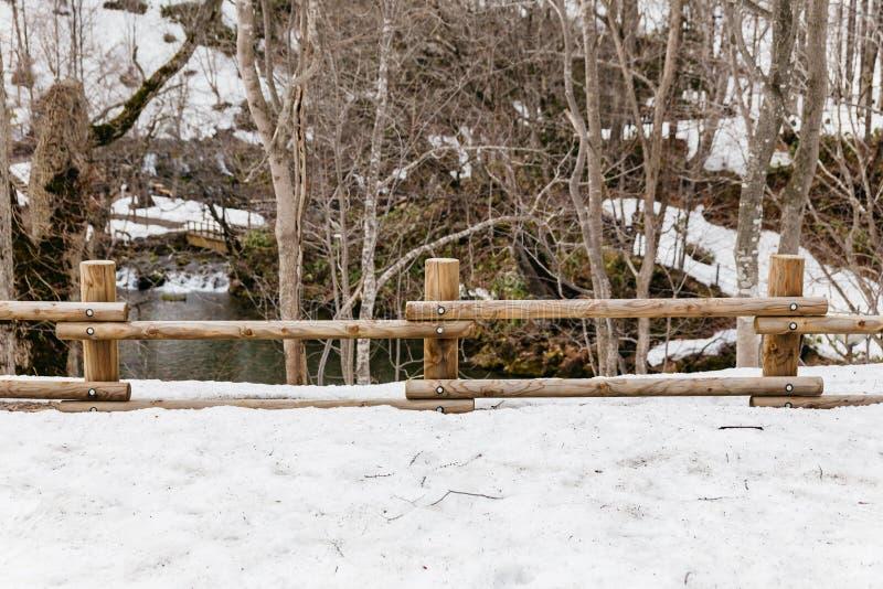 Träjournalstaketet på jordningen, som täckte med snö med sjön och avlövade träd i bakgrunden på Fukidashi, parkerar royaltyfria bilder