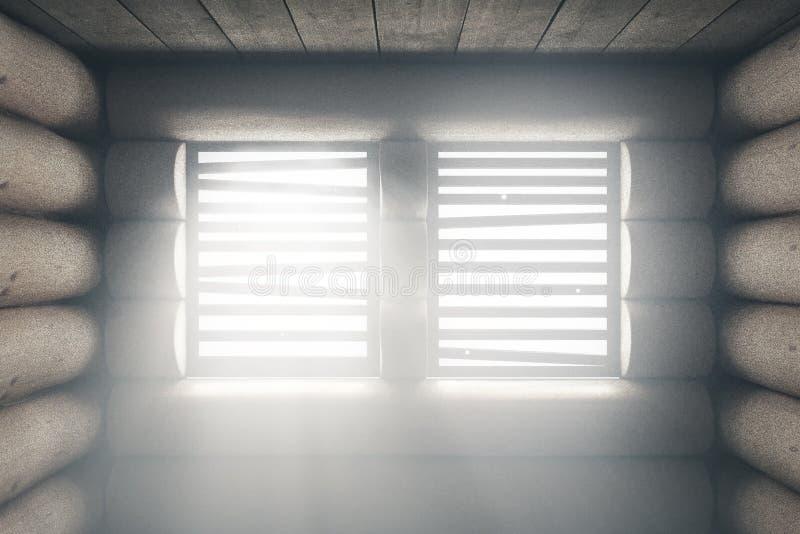 träkabin med ljusa strålar till och med fönster vektor illustrationer