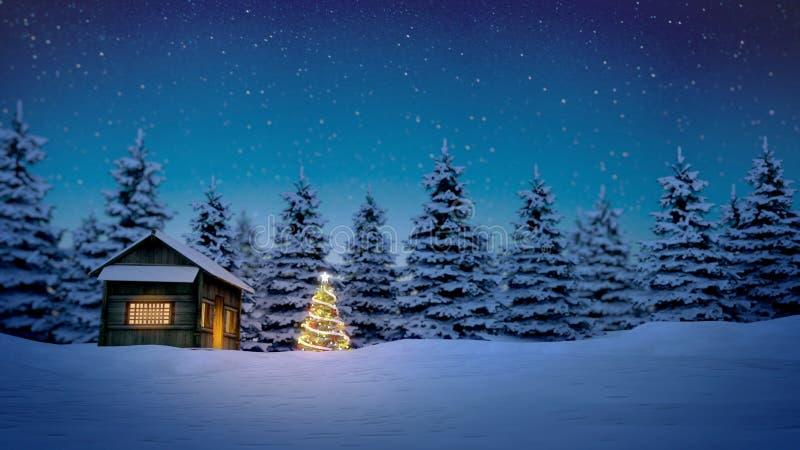 Träkabin- och julträd stock illustrationer