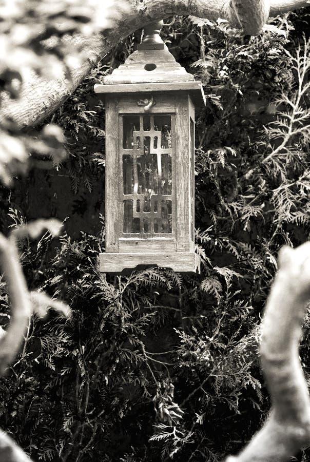 Träkinesisk lykta i den Hortulus trädgården arkivbild