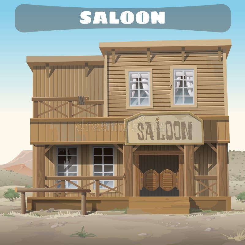 Träklassisk salong i vilda västern, berättelseserie royaltyfri illustrationer