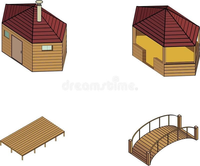 träkonstruktioner royaltyfri illustrationer