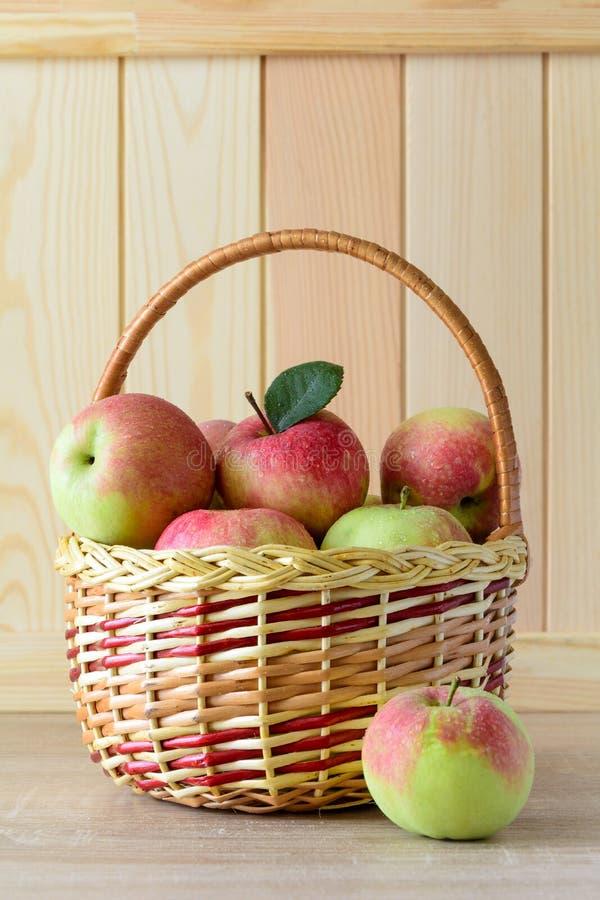 Träkorg med röda och gröna äpplen på framdel av den bruna träväggen Hösten låter vara kanten med olika grönsaker på vit bakgrund arkivbilder