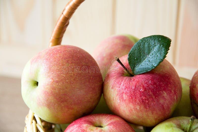 Träkorg med röda och gröna äpplen på framdel av den bruna träväggen Hösten låter vara kanten med olika grönsaker på vit bakgrund arkivfoto