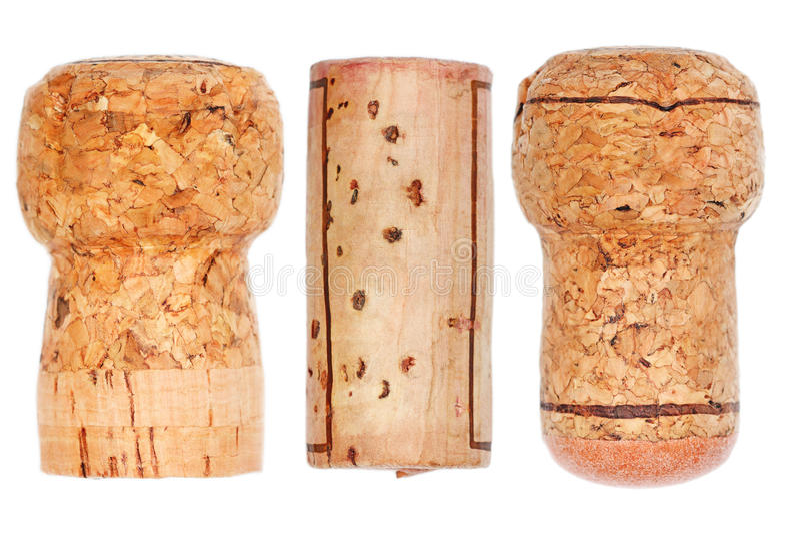träkork, champagne, vin, prosecco som isoleras på vit royaltyfria bilder