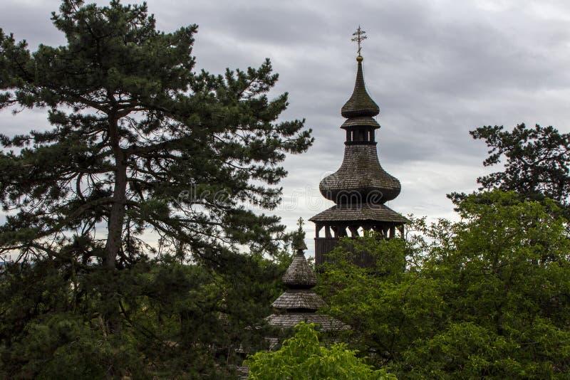 Träkupol av den forntida ortodoxa kyrkan ovanför träden i staden av Uzhhorod ukraine arkivbild