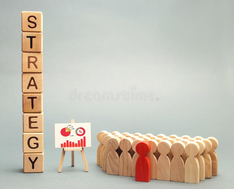 Träkvarter med ordstrategin, affärsschemat och laget av anställda Affärsstrategi är en inbyggd modell av handlingar royaltyfri bild