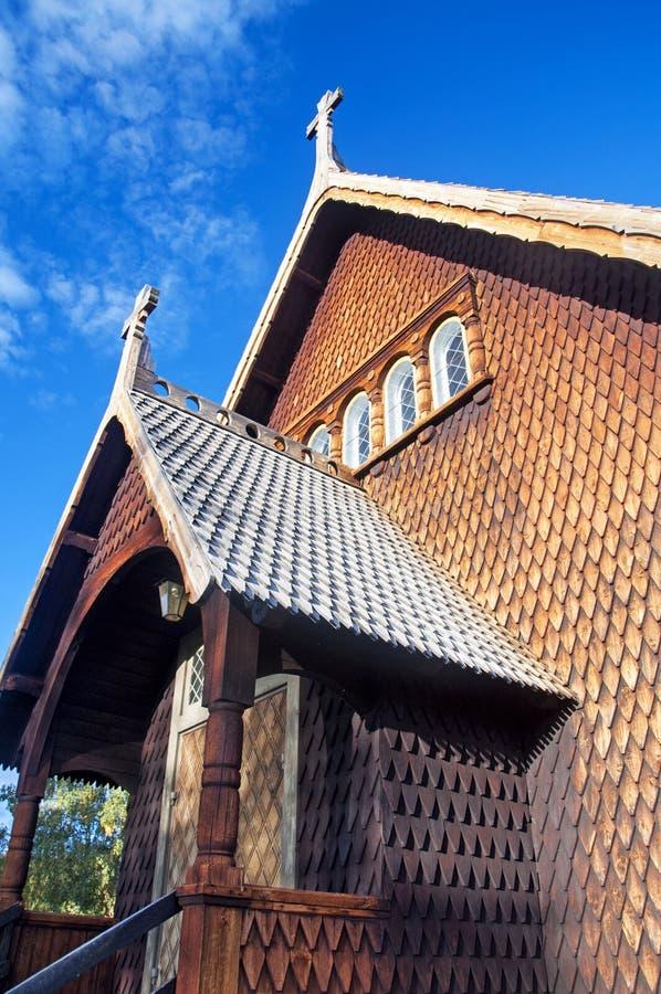 Träkyrka i Kvikkokk, nordliga Sverige royaltyfri foto
