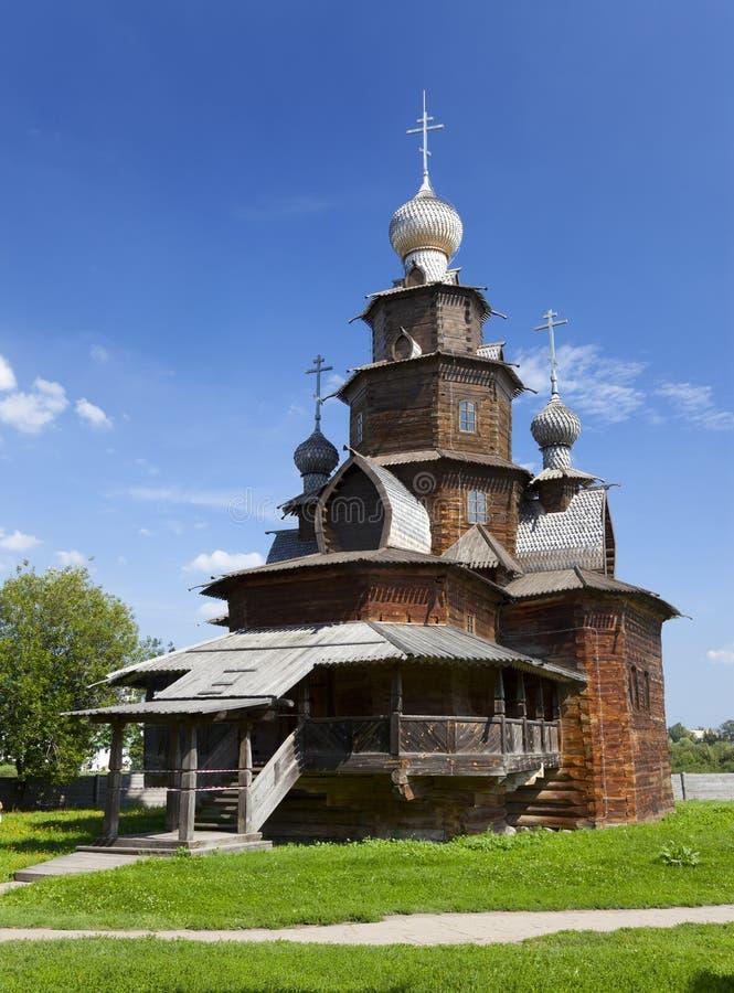 Träkyrkan av omgestaltning i det Suzdal museet, Ryssland royaltyfri bild