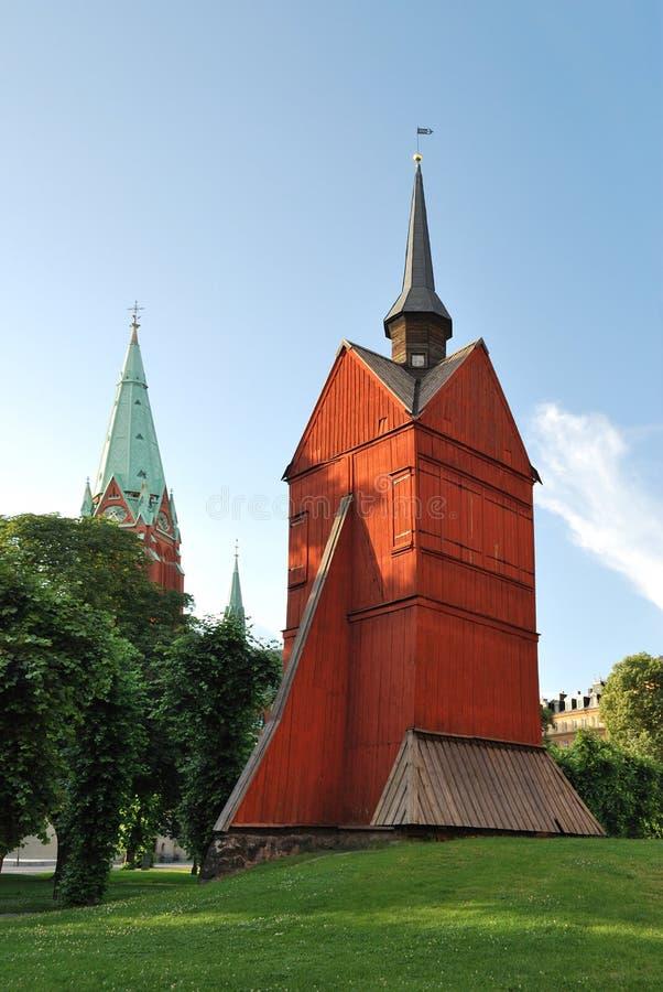träkyrkliga gammala stockholm arkivfoton
