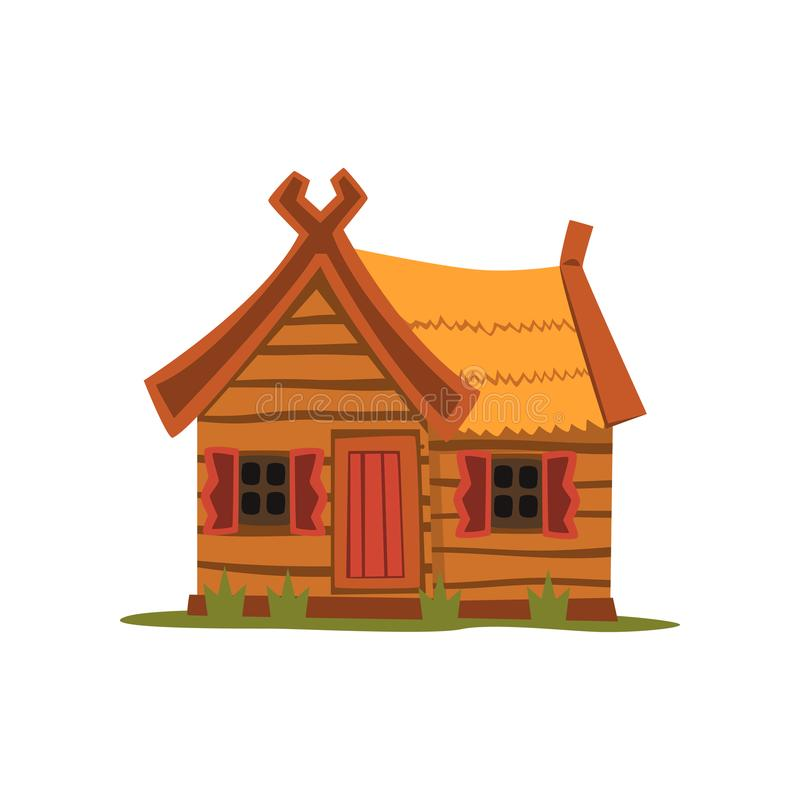 Trälandshus, traditionell illustration för ecohusvektor på en vit bakgrund stock illustrationer
