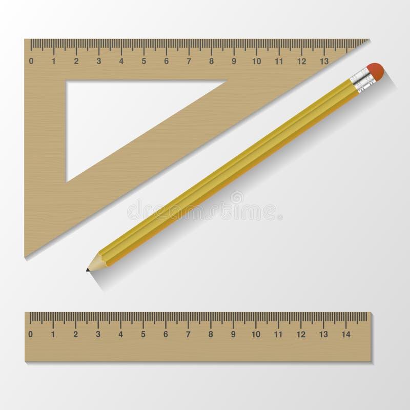 Trälinjalinstrument och skolautrustning bakgrund isolerad white också vektor för coreldrawillustration arkivbild