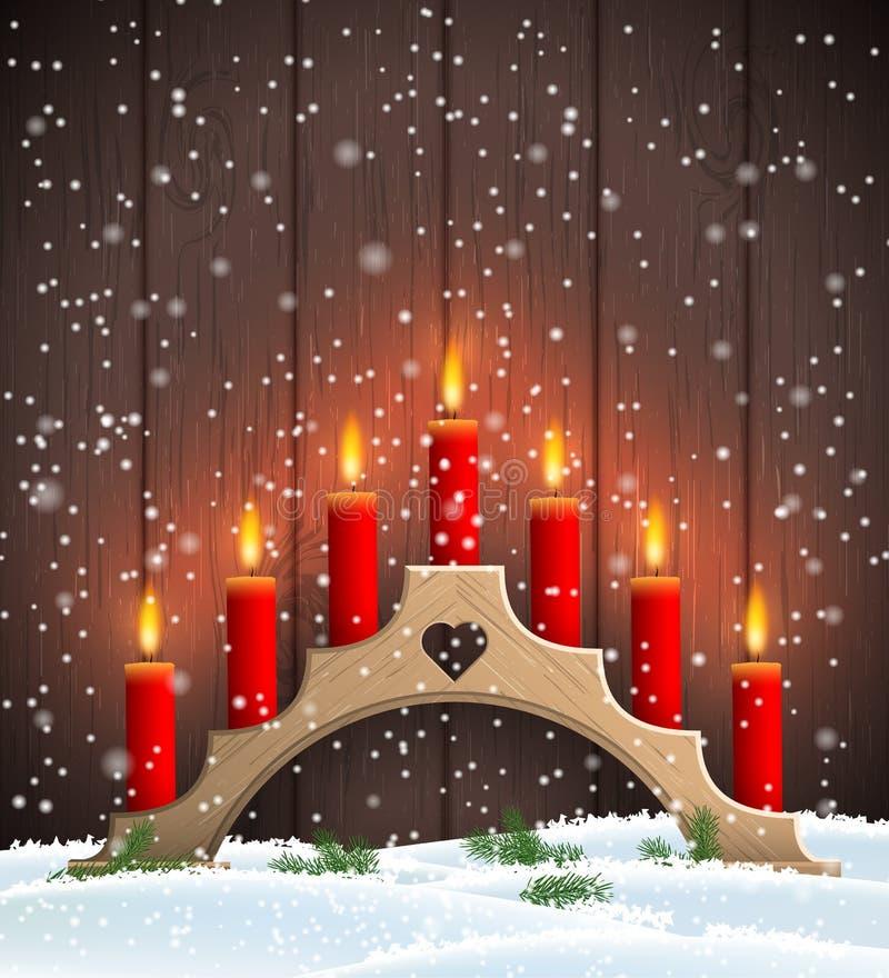 Träljusstake för traditionell jul med röda stearinljus stock illustrationer