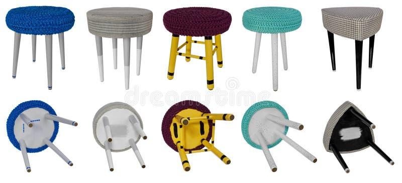 Trämångfärgade modeller för handgjord stol Flerfärgade platser av fotografering för bildbyråer