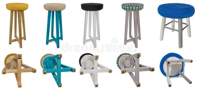 Trämångfärgade modeller för handgjord stol Flerfärgade platser av arkivfoton