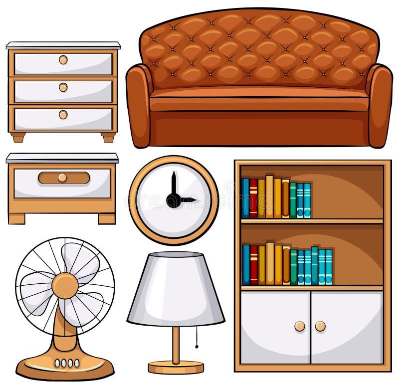Trämöblemang och elektroniska utrustningar royaltyfri illustrationer