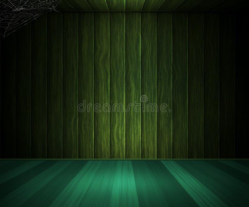 Trämörker - grönt rum vektor illustrationer