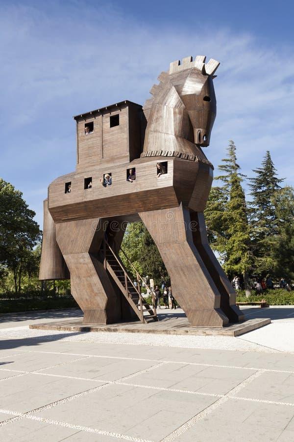 Trämodell av en Trojanska hästen troy kalkon royaltyfri bild