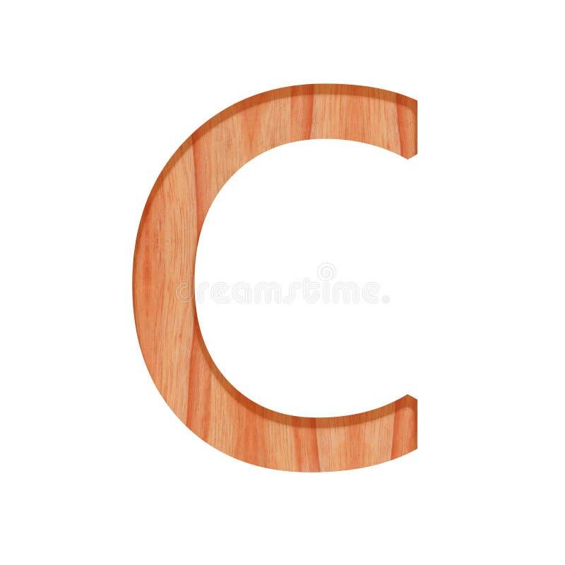 Trämodell härlig 3d som för tappningalfabetbokstav isoleras på vit bakgrund, versal C vektor illustrationer