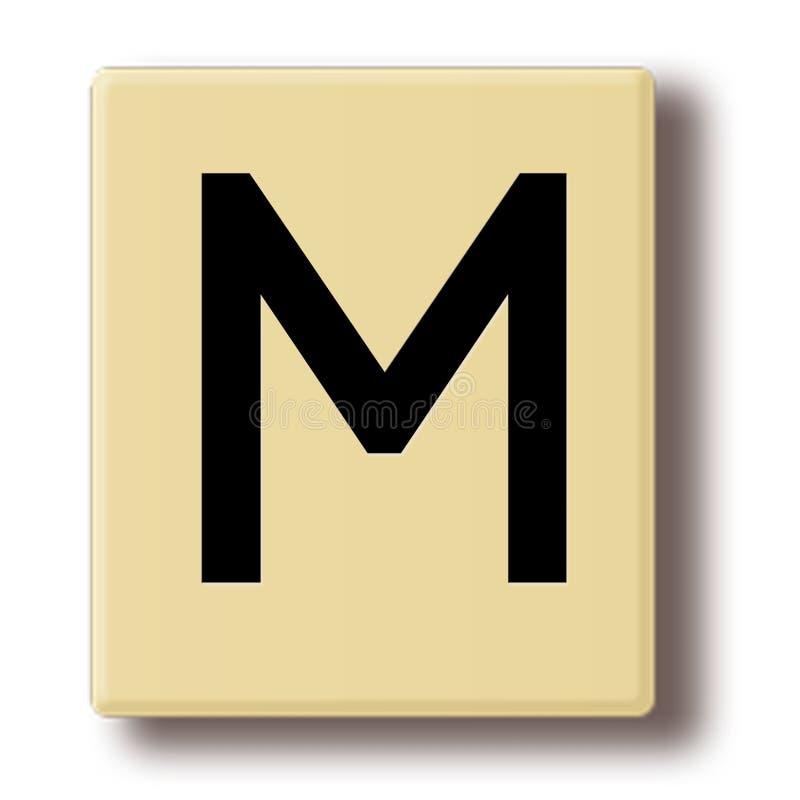 Trämodig tegelplatta med bokstaven M royaltyfri illustrationer