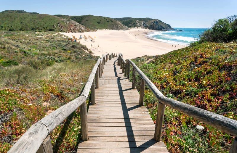 Trämoment till den soliga stranden i den Portugal staden Havvatten och gröna kullar över den fridsamma sjösidan på den soliga dag arkivfoto