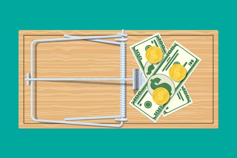 Trämusfälla med pengar royaltyfri illustrationer