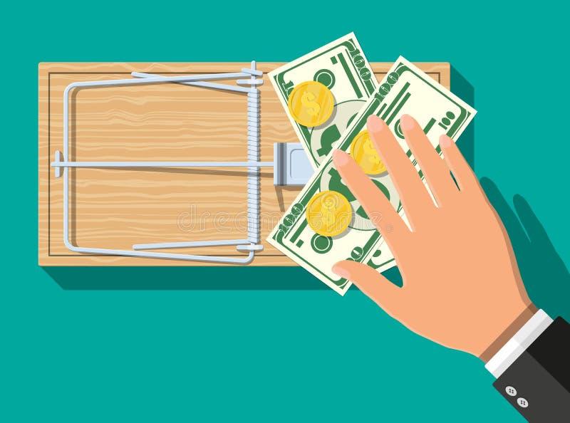 Trämusfälla med pengar vektor illustrationer