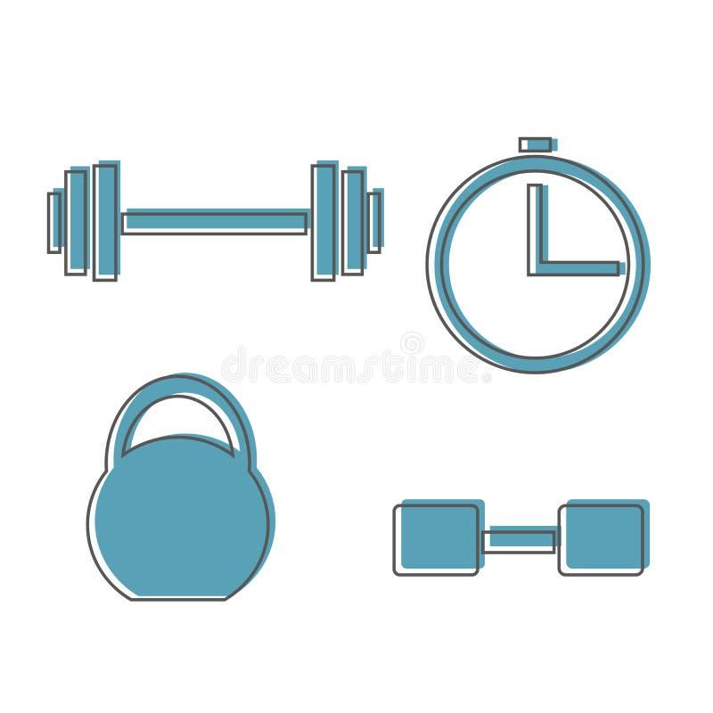 Tränga sig in lyftande symbolen, konditionskivstången, idrottshallsymbolen, isolerade övningshantlar royaltyfri illustrationer