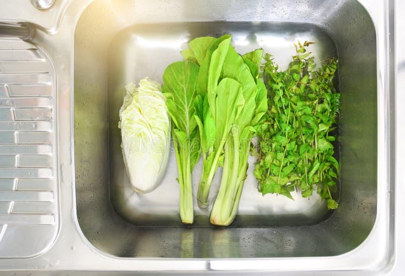 Tränkendes Gemüse Chinakohl, Sumpf choy und paco Farn im Wasser mit Backnatron stockfotos