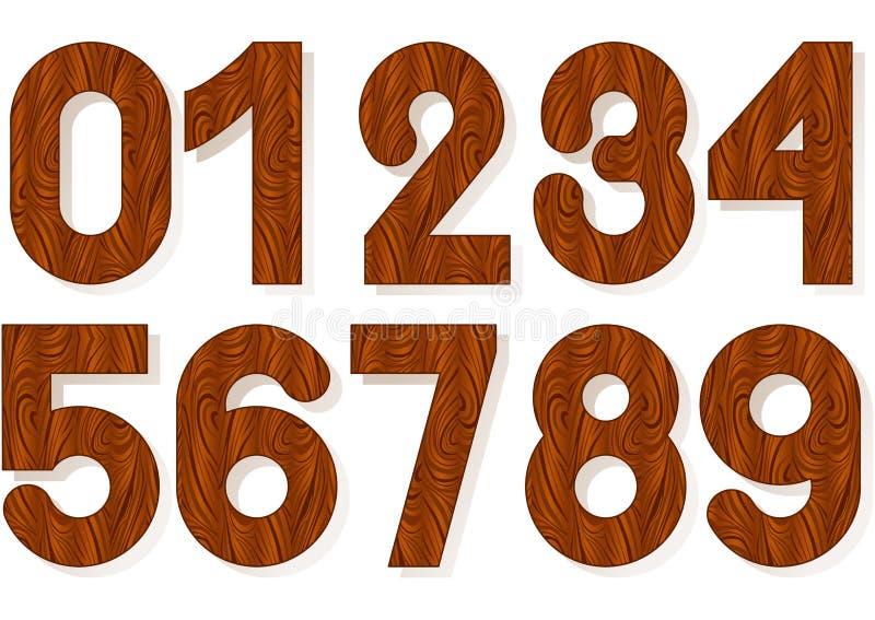 Tränummer, trä texturerade nummer med skugga royaltyfria bilder