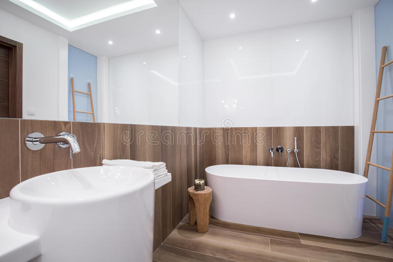 Träpanel i lyxigt badrum royaltyfri foto