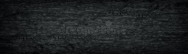 Träpanorama- textur för svart korn Mörk lång träbakgrund royaltyfria bilder