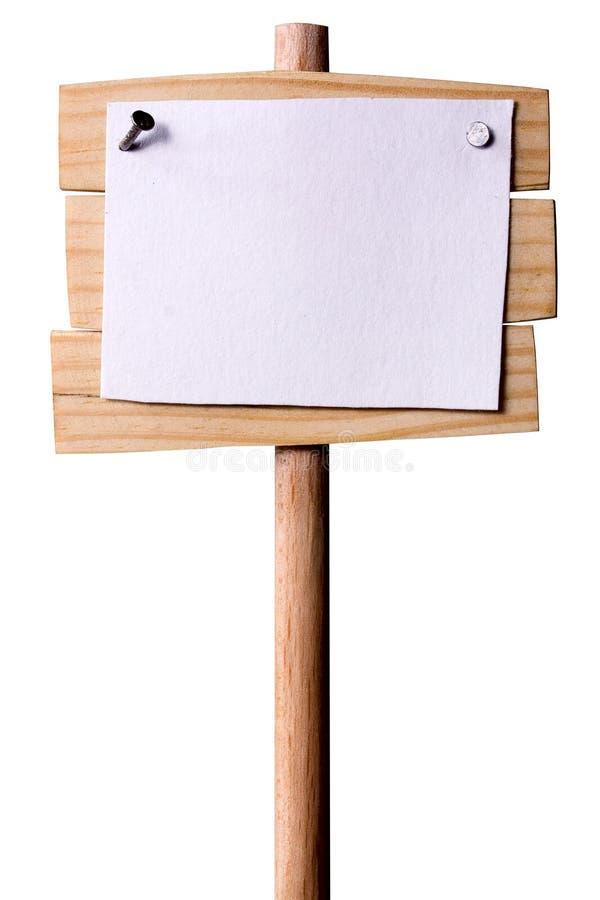 Träpekare med vitbok arkivfoton