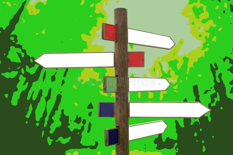 träpiltvärgatariktningstecken royaltyfri illustrationer
