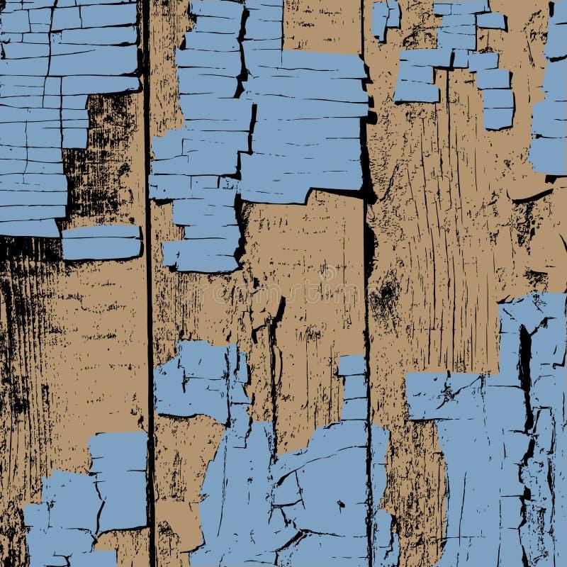 Träplankor med sprucken målarfärgbakgrund stock illustrationer