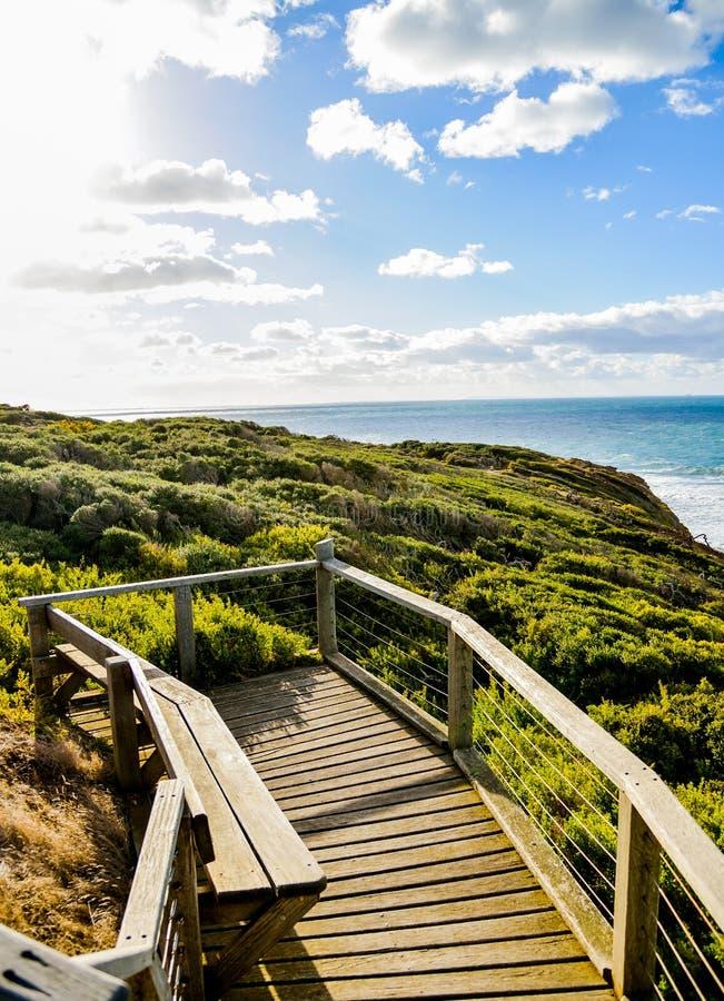 Träplats med havet och blått sky5 royaltyfri fotografi