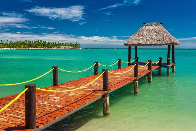 Träröd brygga som fördjupa till den tropiska gröna lagun, Fiji royaltyfri foto
