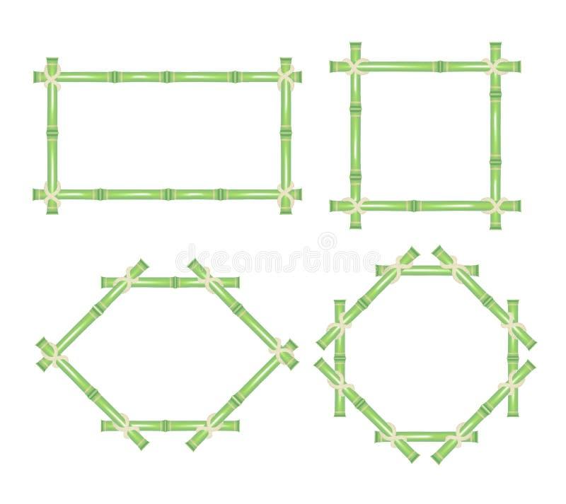 Träram av den gröna bambupinneuppsättningen vektor vektor illustrationer