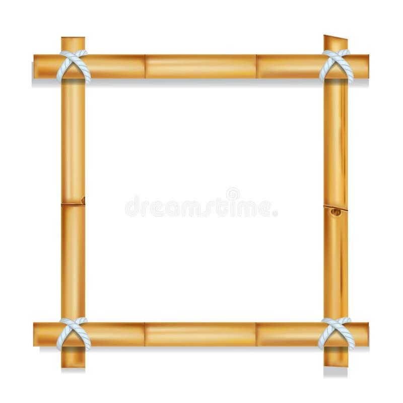 Träram av illustrationen för vektor för bambupinnar den realistiska isolerade stock illustrationer