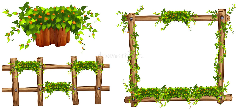 Träram och staket med växter royaltyfri illustrationer