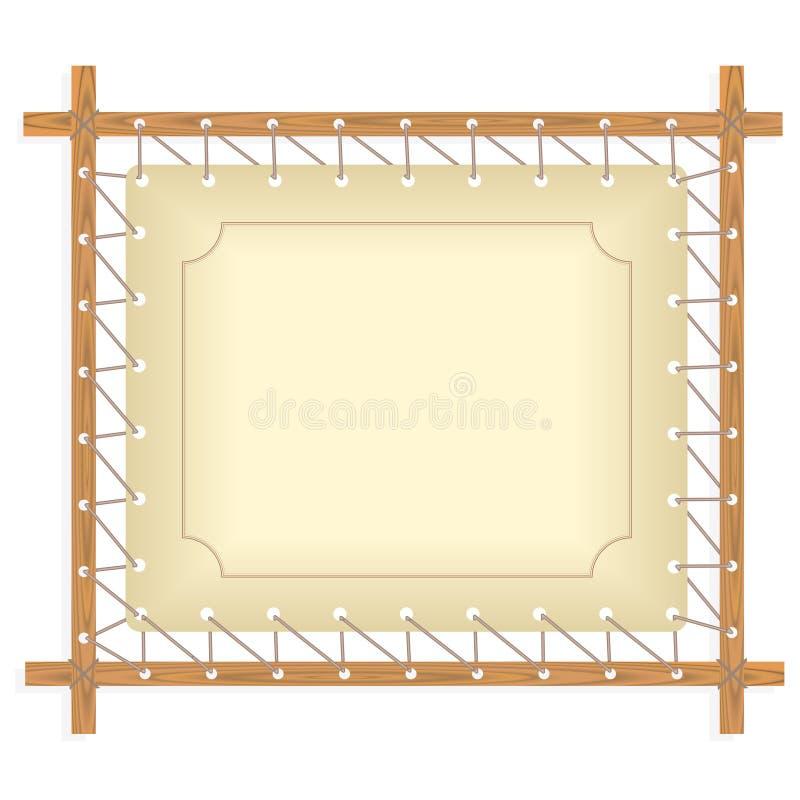 Träram som hänger på rått rep royaltyfri illustrationer