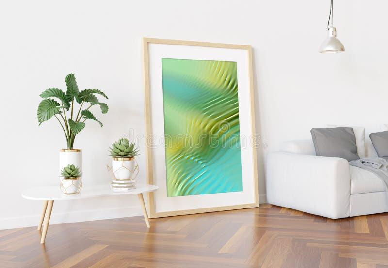 Träram som lutar i ljus vit vardagsrum med växter och tolkningen för garneringmodell 3D royaltyfri illustrationer