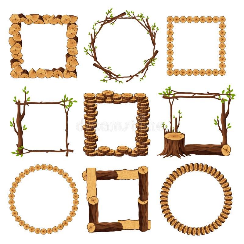 Träramar ställde in isolerat på vit bakgrund Fyrkanten och rundan timrade gränssamlingen med filialer förbryllar trä vektor illustrationer