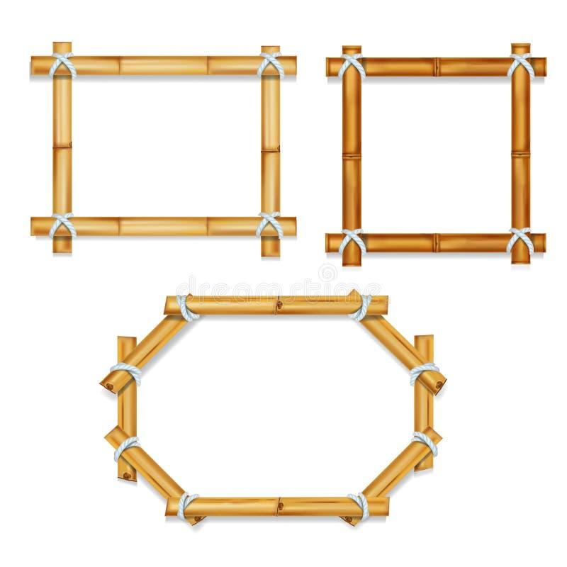 Trärealistisk bambu inramar vektorillustrationen royaltyfri illustrationer